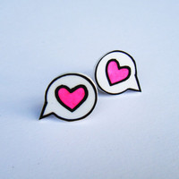 "Earrings - Shrink Plastic  - Heart Speech Bubble ""I said Love"" - Bright Pink"