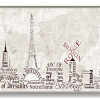 Stupell Industries Home Décor Paris Skyline Typography Textual Art Plaque