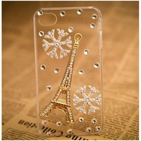 Bling Crystal Tower and Snowflake Transparent for Apple Iphone 4/4s and Mione