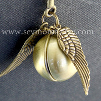 Harry Potter Golden Snitch Always bookmark, antique brass wings, Steampunk