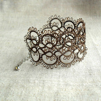 Taupe grey lace bracelet, handmade tatting lace, victorian, lace cuff, ready to ship