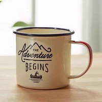 Adventure Begins Enamel Mug- White One