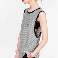 Project Social T Striped Muscle Tee- Black