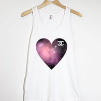 Galaxy Heart Chanel - American Apparel Unisex  Fine Jersey Tank Top