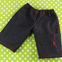 Waldorf Boy Jeans, Cargo pants with topstitching and side pocket, 15 inch Doll Clothing Unisex Red - Pantalon poupée - Ready to ship