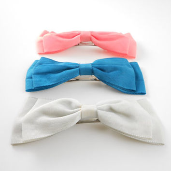 Vintage Hair Bows - 80s Hair Bow Clips - Set of Three