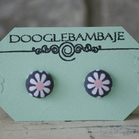 Dusky Blush Daisy Design- White and Blush Pink Flower Daisy on Charcoal Grey Fabric Stud Post Button Earrings - Wedding - Classy Line