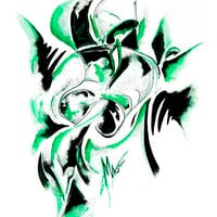 Green figure Painting by Minaxus Production Studio - Green figure Fine Art Prints and Posters for Sale