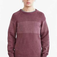Native Youth Bleach Wash Stripe Crew Neck Sweater- Maroon