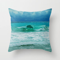 TURQUOISE WAVE Throw Pillow by Catspaws