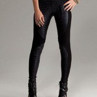 Motorcycle leggings with faux crocodile and contrasting spandex design