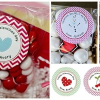 Set of 24 Personalized Valentines Stickers & Bags - 15 Designs!