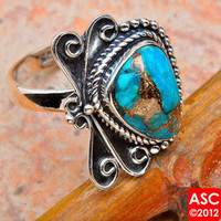 BLUE COPPER TURQUOISE .925 SILVER RING SIZE 9