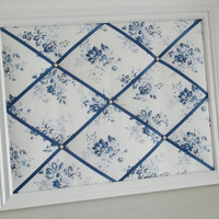 Shabby Chic Chambray Rose fabric - White Wood Framed Memo Board