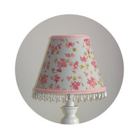 Shabby Chic Cherry Blossoms on Misty Blue fabric - Lamp Shade