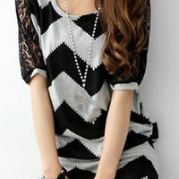 Black and Grey Wave Print Mini Dress with Lace Detail