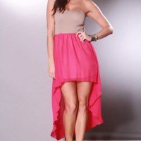 Taupe Fuchsia Strapless Cutout Back Sheer Chiffon High Low Hem