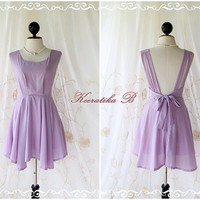 A Party - Angel No Wings - Petite Size Designs - Prom Party Wedding Bridesmaid Cocktail Dress Deep Back Lilac  XS-S