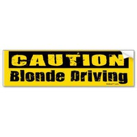 Blonde Driving Bumper Sticker from Zazzle.com