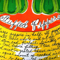 Large Kitsch Recipe Watercolor, Vintage 1970s Soovia Janis Stuffed Peppers by Pati