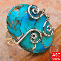BLUE COPPER TURQUOISE .925 SILVER RING SIZE 6 1/2
