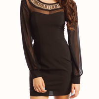 Black Embellished Neck Dress-GoJane.com