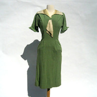 Vintage Rare 1930's green linen and polka dot by Yesterdayand2day