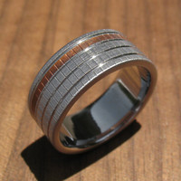 Titanium and Copper Woven Texture Wedding Ring