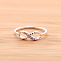 INFINITY ring with crystals,in silver (plated, 925 sterling) | girlsluv.it - handmade jewelry collection, ETSY, Artfire, Zibbet, Earrings, Necklace