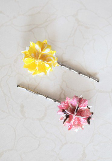 origami indie hair pins in pink at ShopRuche.com