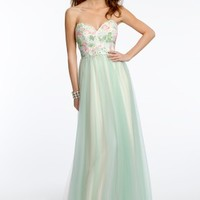 Strapless Lace Bodice Two-Tone Dress