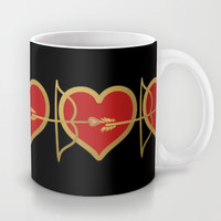 Cupid Bow and Heart (red) Mug by Lisa Argyropoulos