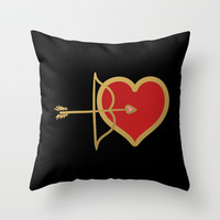 Cupid Bow and Heart (red) Throw Pillow by Lisa Argyropoulos