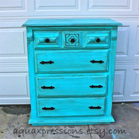 Bayside Blue Vintage Chest/ Dark Glaze /Black Pulls /Made to Order Paint Color &amp; Finish--