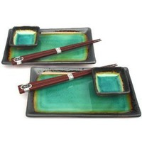 Japanese Kosui Turquoise Green Six Piece Sushi Plate Set For Two