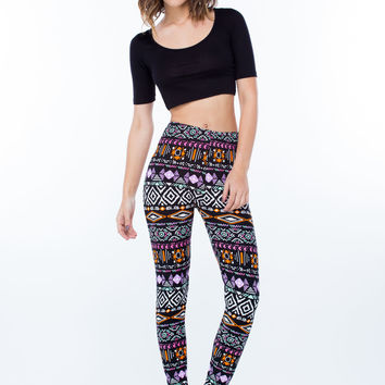 Neon Lights Tribal Print Leggings