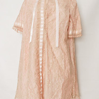 Short Pink Lace Robe - Saks Fifth Avenue Special Order Baby Doll Illusion Peignoir