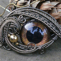 SOLD Gothic Steampunk All Seeing Eye Pendant by twistedsisterarts