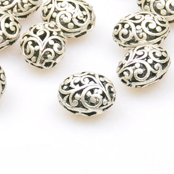 2 Pieces Matte Silver Jewelry Spacers, Matte Silver Fretwork Spacer, Jewelry Findings, Boho Jewelry Findings