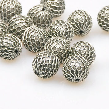 4 Pieces Matte Silver Jewelry Ball Spacer Beads, Silver Bead Ball Jewelry Spacer, Jewelry Findings, Jewelry Making Supply
