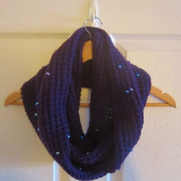 Beaded Scarf - Purple Scarf - Knit Infinity Scarf - Hand Knit Scarf - Winter Scarf - Made in Canada - Acrylic Knit - Warm Circle Scarf