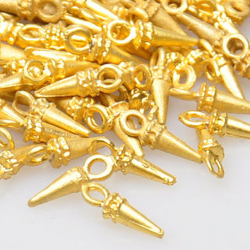 25 Pieces Gold Plated Mini Spike Charms, Matte Gold Jewelry Drop Spikes, Jewelry Malking Supply, Jewelry Findings