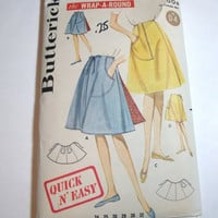 Vintage Pattern Butterick ladies wrap around skirt hip 38 waist 28 Quick and Easy retro style
