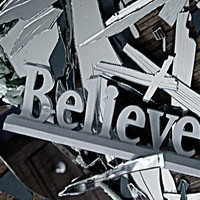 Believe - 8x10 Fine Art Photography - Navy, Silver, Brown, White - Broken Glass Decor- Reflection, Suffering - FREE SHIPPING - TAGT Team