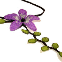 Gypsy boho necklace purple green lilac pale lavender lace tatted flower lime leaf necklace tatting lace jewelry floral embroidered TAGT