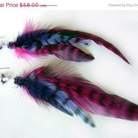 SALE Purple Amethyst Feather Sterling Earrings - Tagt