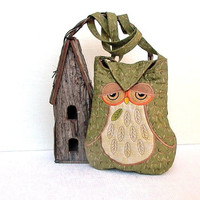Owl Small Quilted and Embroidered Shoulder Bag Cross Body Fabric Purse &quot;Celeste&quot; in olive green and brown