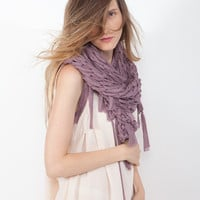 Airy Motion Scarf - Purple - Hand knit - Autumn Fashion - Women