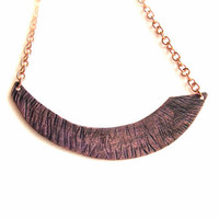 Deep Purple Patina Textured Copper Arch - Patina Necklace - Tribal- Fall Fashion
