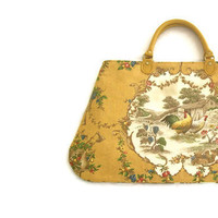 French Country Carpet Bag Rooster and Hen Honey Gold Cream
